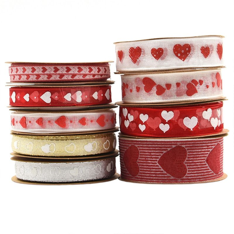 10m Organza Love Heart Printed Ribbon Gauze For Wedding Valentine Handmade DIY Craft Gift Wrapping Supplies Decoration