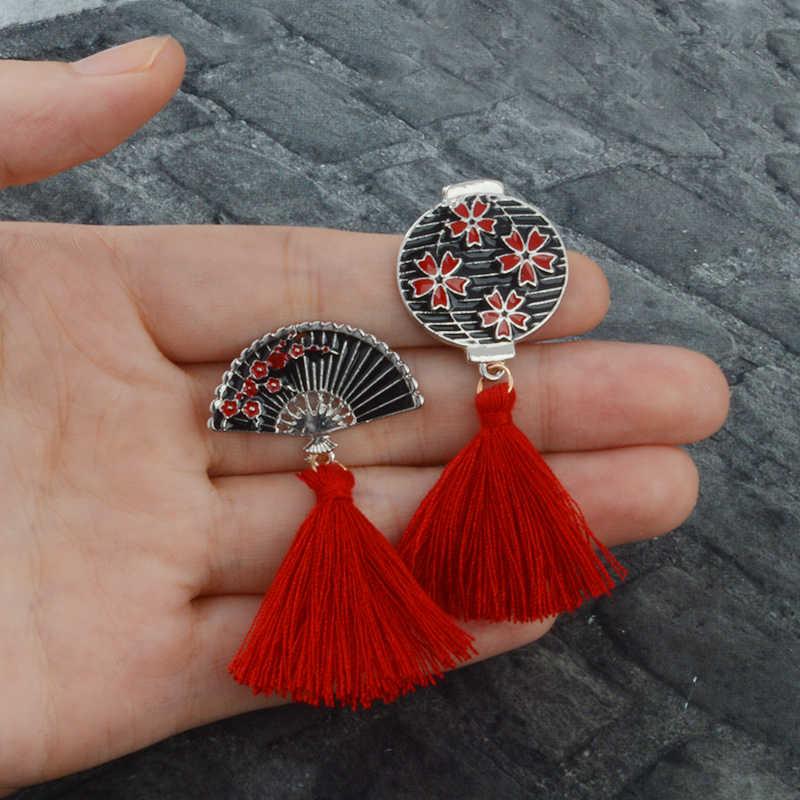 Geki Ninja Masker Pin Jepang Rusa Kelinci Ular Fox Enamel Bros Lencana Rumbai Merah Kerah Pin Cute Hewan Perhiasan hadiah