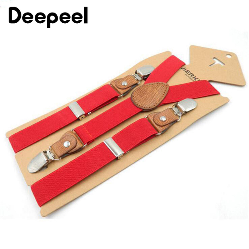 Deepeel 1pc 2.5*75cm Child's 3 Clips-on Y-type Suspenders High-quality Polyester Elastic Strap Adjustable Suspenders Accessories