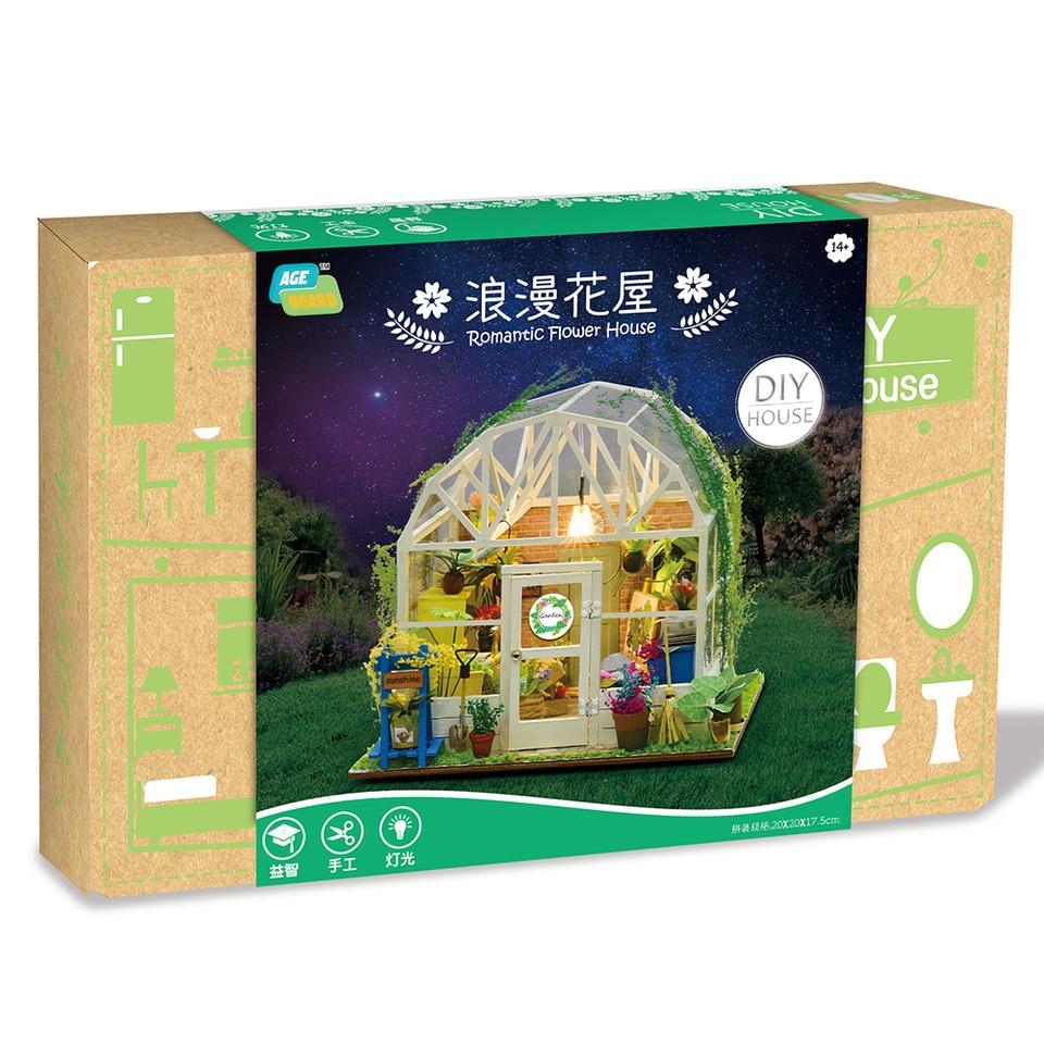 DIY Dollhouse Wooden Miniature Furniture Kit Mini Green House with LED Light New