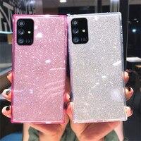 Funda de teléfono con purpurina cuadrada para Samsung Galaxy, funda trasera transparente de TPU suave 2 en 1 para Samsung Galaxy S20 FE A51 A71 A50 A70 S21 S10 S9 Plus Note 20