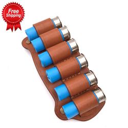 12G Shotgun Shell Holder 6 Cartridge Holder Loop High Quality Real Leather Tactical Pouch Airsoft Pistol Fit 2