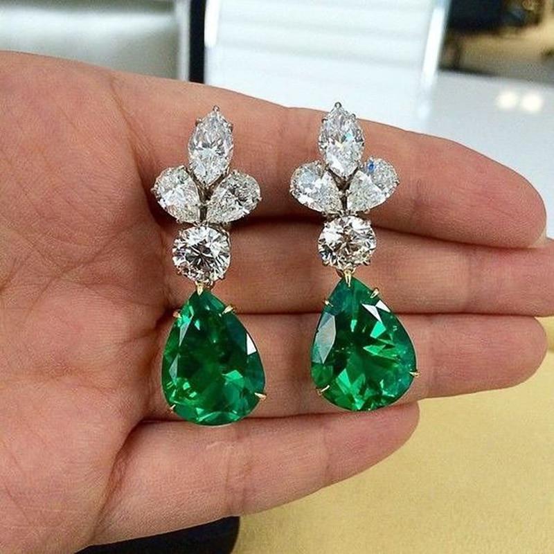 Huitan Green Teardrop Cubic Zirconia Dangle Earrings Women High Quality Party Accessories Anniversary Gift Lady's Trendy Jewelry