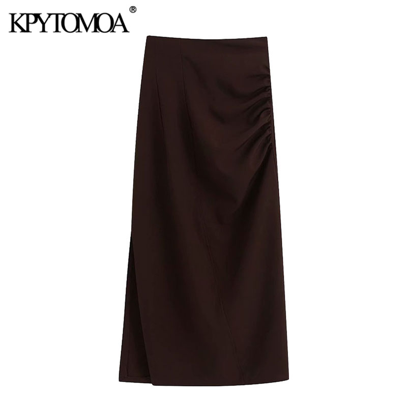 KPYTOMOA Women 2020 Chic Fashion Office Wear Draped Midi Pencil Skirt Vintage Back Zipper Side Vents Female Skirts Faldas Mujer