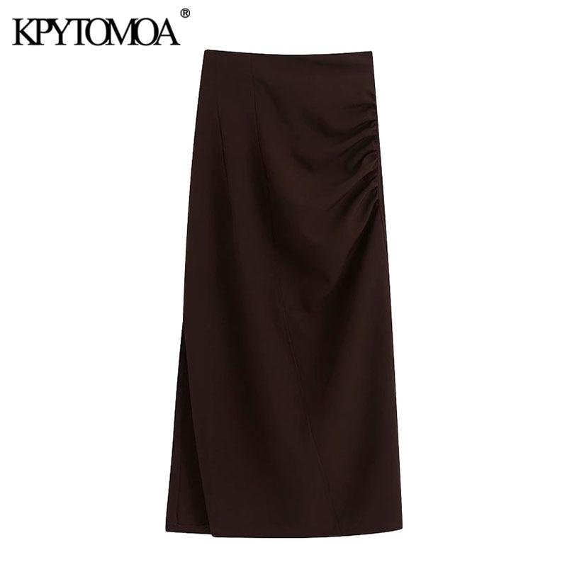 KPYTOMOA Women 2020 Chic Fashion Office Wear Draped Midi Pencil Skirt Vintage Back Zipper Side Vents Female Skirts Faldas Mujer