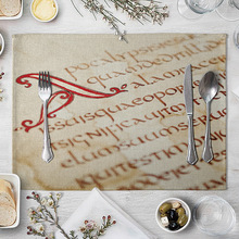 цена на Musical Notation Placemats Vintage Fashion Linen Placemat Kids Fabric Napkins Heat Insulation Mat Dining Table Mat