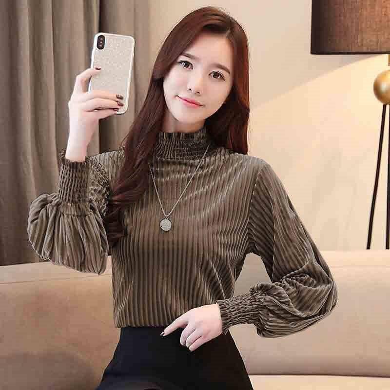 new Women Velvet T Shirt Vintage T-Shirt Femme Long Sleeve Shirt Office high-Neck Lady New Autumn Casual Solid Tee Tops High Qua
