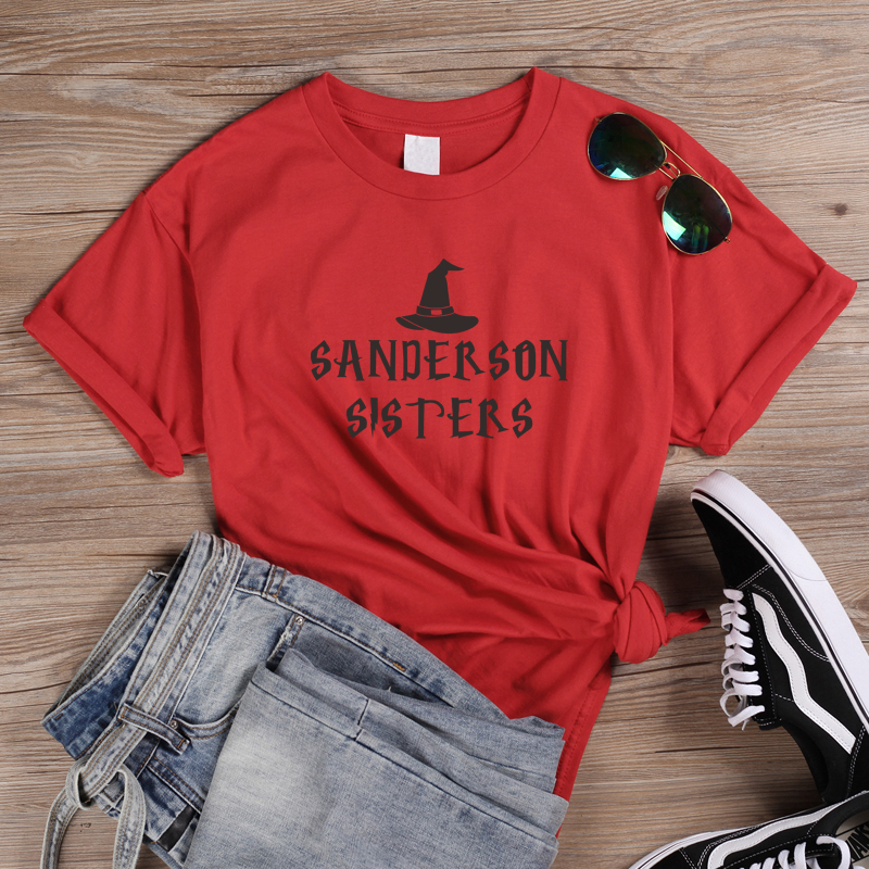 ONSEME Hocus Pocus <font><b>Sanderson</b></font> Sisters Graphic T <font><b>Shirt</b></font> Harajuku Halloween T <font><b>Shirts</b></font> Funny Witch Print Tees Womens Tops Clothing image