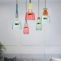 Скандинавские яркие подвесные светильники для гостиной  стола  спальни  детской комнаты  Инс  ретро  одноголовые стеклянные лампы  подвесны...