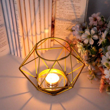 Nordic Style 3D Geometric Candlestick Metal Candle Holder Wedding Home Decor Desktop Artist Creative