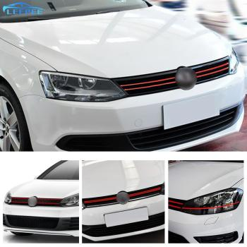 Car Styling Front Hood Grille Decals For VW Golf 6 7 Tiguan Car Strip Sticker Reflective Stickers Auto Decoration image