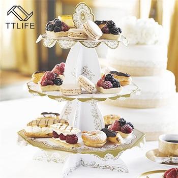 TTLIFE, soporte de tres niveles para Tartas, Bandeja de postres, decoración para fiestas de cumpleaños, bodas, coche, soporte para cupcakes, herramientas de decoración para fondant