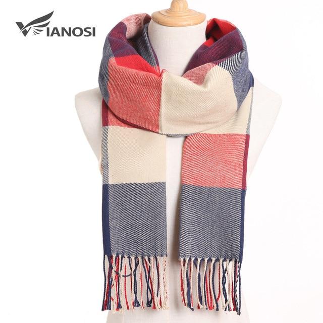 VIANOSI 2019 Plaid Winter Scarf Women Warm Foulard Solid Scarves Fashion Casual Scarfs Cashmere