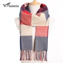 Женский шарф в клетку VIANOSI, зимний однотонный шарф, теплый платок, модные повседневные кашемировые шарфы, 2020