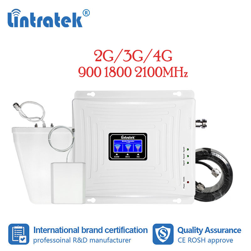 Lintratek Signal Repeater 2g 3g 4g Gsm Amplifier 900 1800 2100 Lte Cellular Singal Booster Amplifier Tri Band Antenna Kit LCD Dj