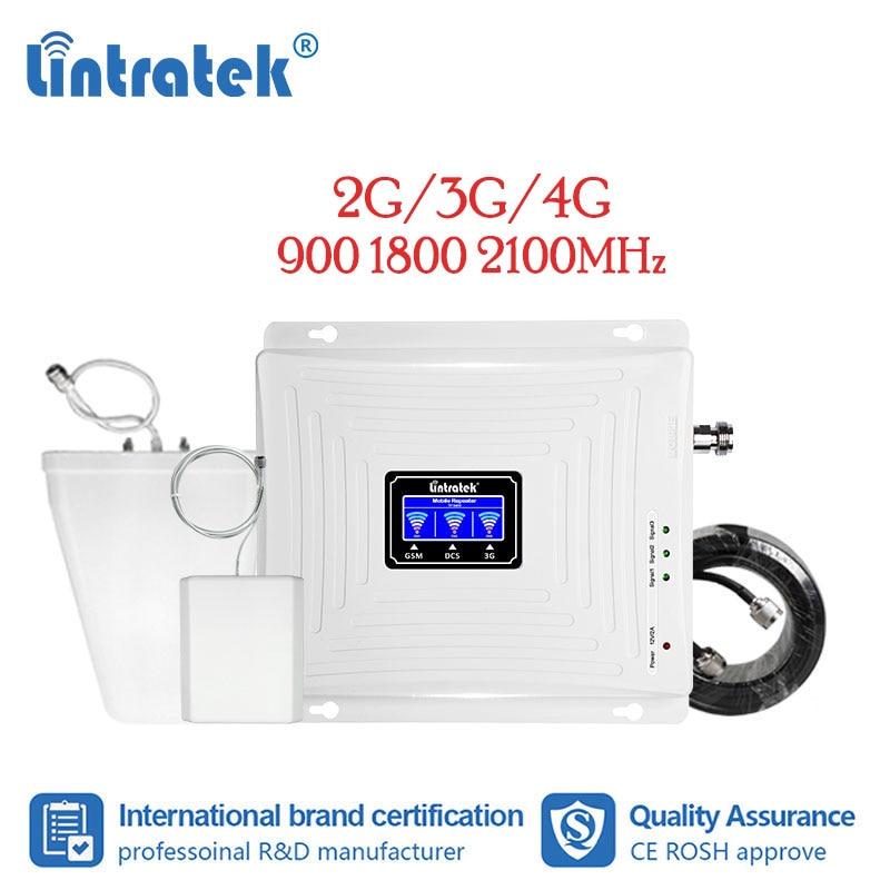 Lintratek Signal Repeater 2g 3g 4g Gsm Amplifier 900 1800 2100 Lte Cellular Singal Booster Amplifier Tri Band Antenna Kit LCD Dj