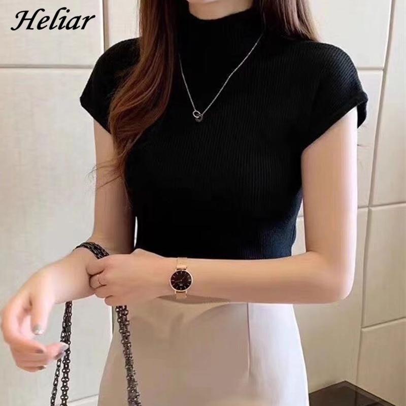 HELIAR Knitted T-shirts Women Purple Turnelneck Tees Plain Solid Short Sleeve T-shirts Casual O-neck Soft T-Shirts Women