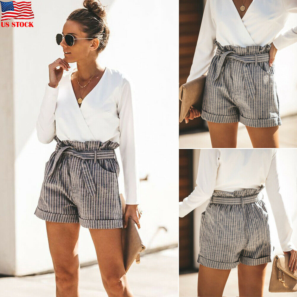 Hot 2019 Fashion Women Shorts Straight Bandage Ladies High Waist Gray Summer Casual Striped Beach Streetwear Trousers