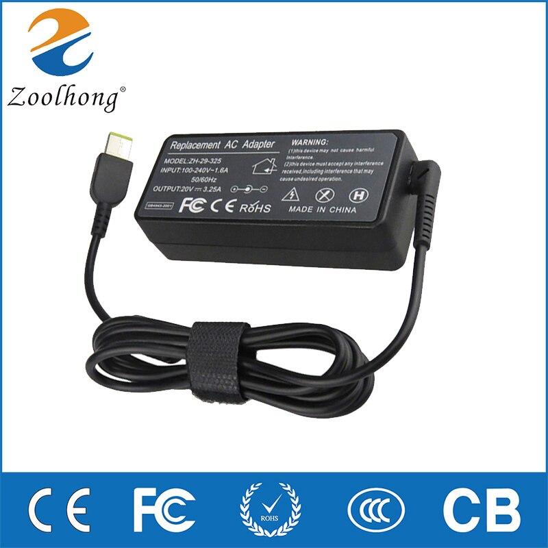 Zoolhong 20V 3.25A 65W laptop AC power adapter para Lenovo Thinkpad Lenovo Carbono G400 X1 G500 G505 g405 YOGA 13