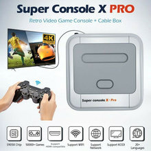 Super console x pro consolas de jogos de vídeo emulador suporte kodi wifi console retro embutido 50000 + jogos para psp ps1 n64 saída de tv