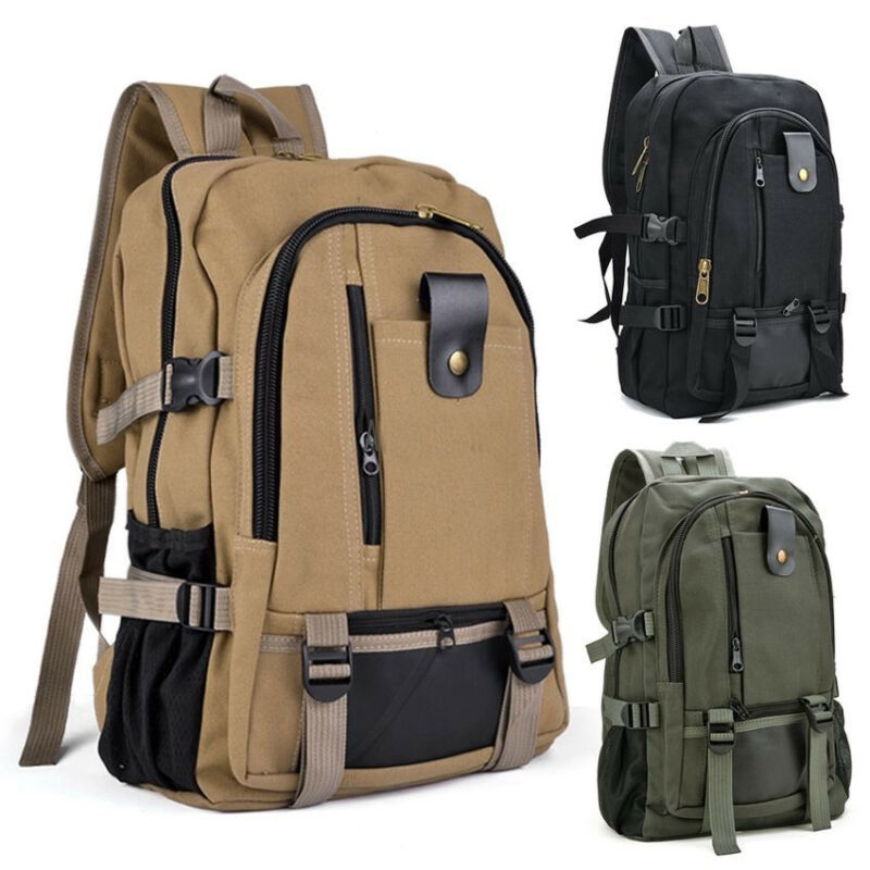 Retro Men's Travel Backpack Canvas Solid Outdoor Camping Multifunctional Anti-theft Backpack