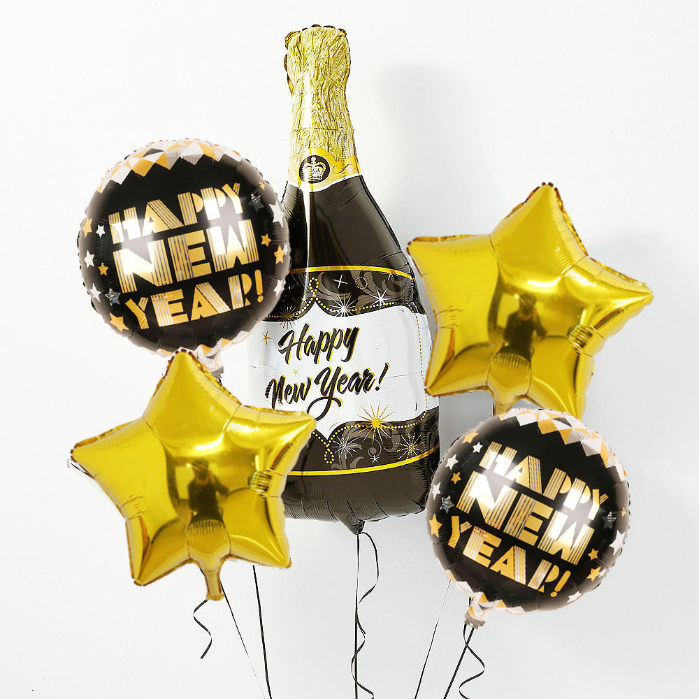1set Champagne Happy New Year Foil Balloon With Black & Gold Balloons Kit For Happy New Year Party Decorations Kids Gifts