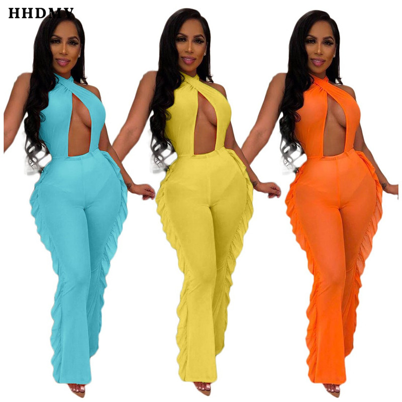 HHDMV ORY5124 sexy beach style jumpsuits sleeveless lace-up cross hanging neck hollow out perspective jumpsuits long pants