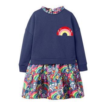 1-7 Years Floral Cotton Dress for Kids Baby Girl  Long-sleeved Doll Collar Clothes for Toddler Girl  for Autumn and Spring  2020 - Color 3, 2T
