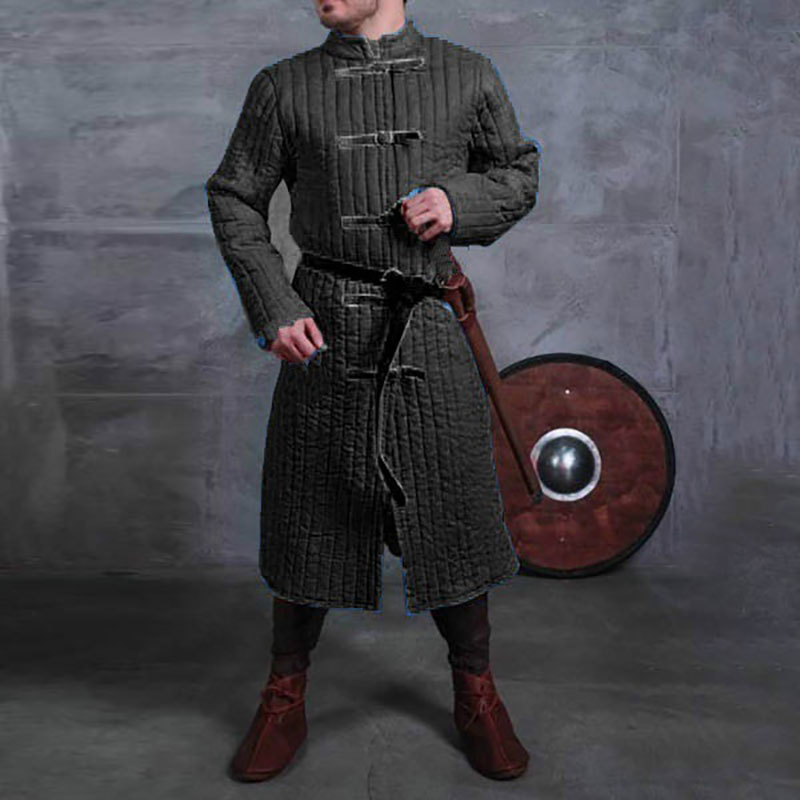 Long Sleeves Cotton Gambeson With Leather Buckle  Jacket Armour
