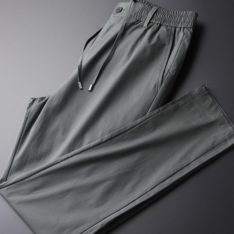 Cotton Men Pants Luxury Grey Elastic Waist Drawstring Men's Trousers Autumn Multiple Pockets Pants Man Plus Size 4xl