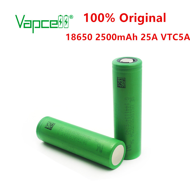 Vapcell 100% Original 18650 2500mAh 25A 3.7vrechargeable Li-ion Battery VTC5A 18650 Flat/button Top For Power Tools/flashlights