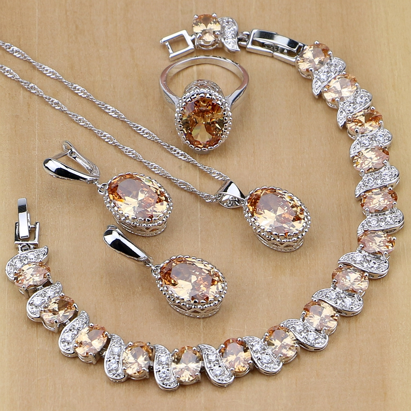 Argent 925 bijoux de mariée Champagne Zircon ensembles de bijoux pour femmes boucles doreilles/pendentif/collier/anneaux/Bracelet