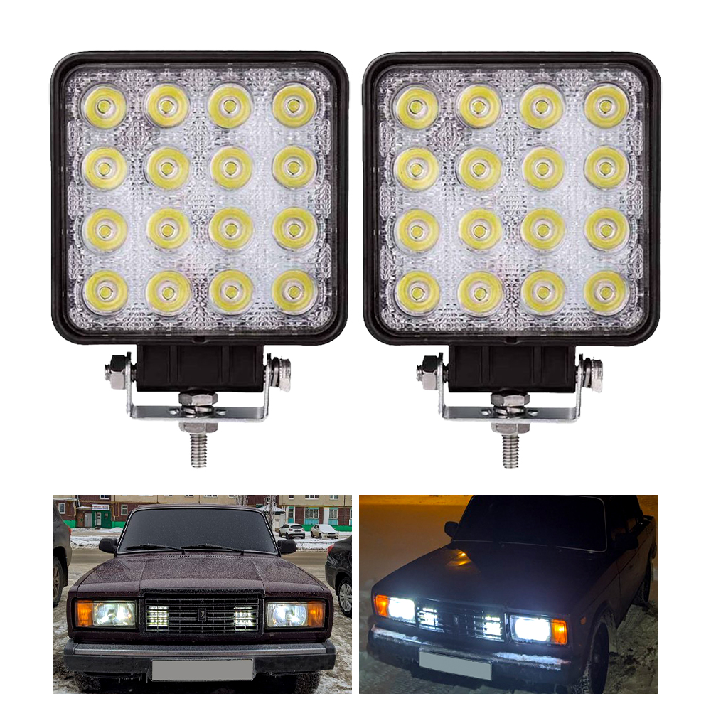 2 pcs 48W 6000k LED Spot Beam Square Work Lights Lamp Tractor SUV Truck 4WD 12V 24V waterproof for the kinds of vehicles