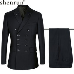 Shenrun Männer Anzüge Slim Fit Neue Mode Anzug Zweireiher Spitze Revers Navy Blau Schwarz Hochzeit Bräutigam Partei Prom Dünne kostüm
