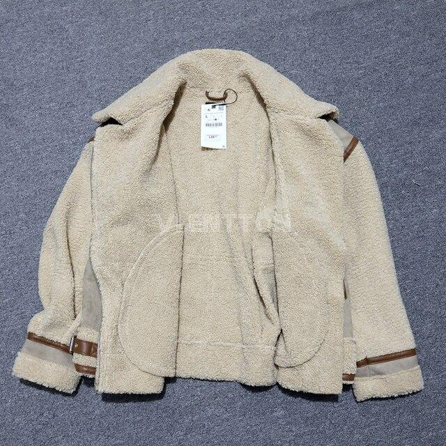 New Winter Women Thick Vintage Splice Suede Jacket Coat Loose Warm Lambswool Biker Outwear Female Oversize Faux Leather Overcoat 5