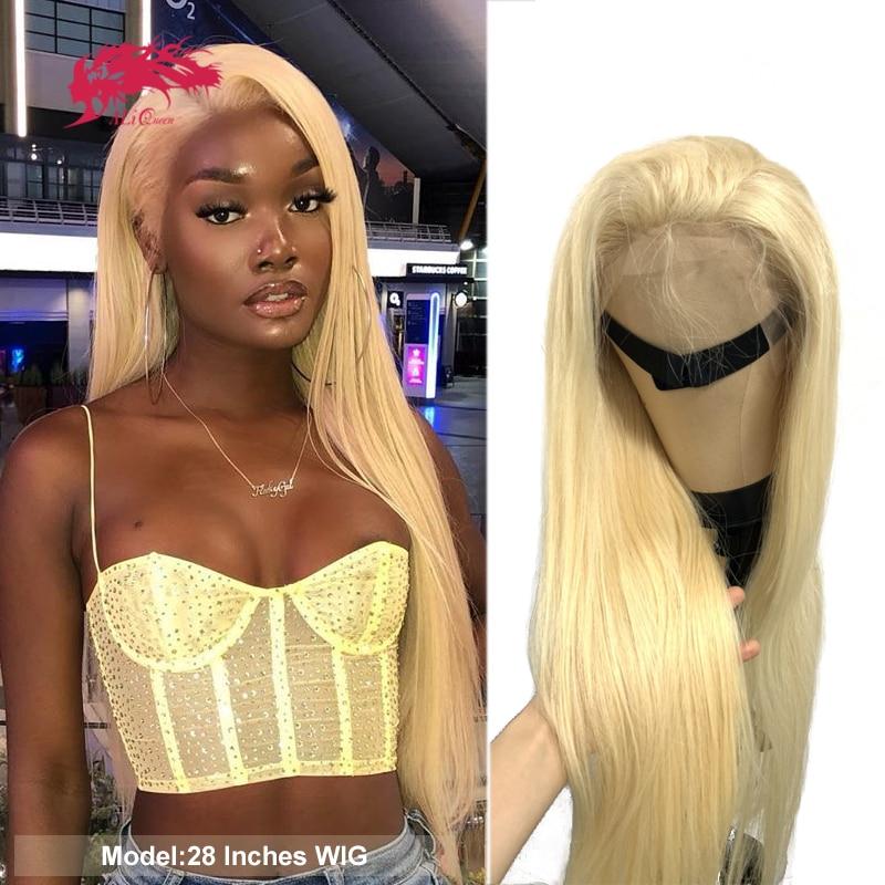 Парик блонд 613 или 1B/613, 4x4 парики на шнуровке, бразильские прямые человеческие волосы, 13x4