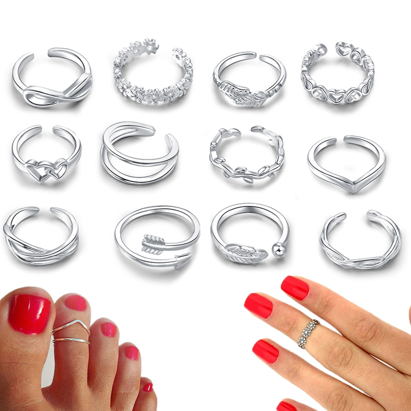 3-12PCS Arrow Tail Various Types Band Adjustable Open Toe Rings