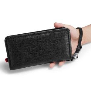 Image 4 - Orabird длинный женский кошелек, 100% натуральная кожа, сумка для денег, дневной клатч, сумки с отделением для карт, стандартные Модные женские кошельки для телефона