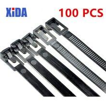 Многоразовые нейлоновые кабельные стяжки могут быть свободными, многоразовая упаковка, пластиковый ремешок на молнии, 8*150/200/250/300/350/400/450
