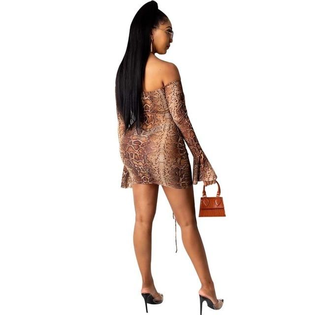 Snake Tie Dye Printed Ruch Drawstring Wrap Dress Woman Off Shoulder Long Flare Sleeve Sheath Dresses Retro Backless Robe Femme 2