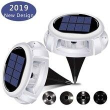 2 Pack LED Solar Powered In-ground Lights Outdoor Waterproof Lamp Garden Motion Sensor 4/5 Lighting Mode Street Xmas Decor