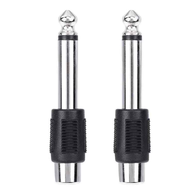 4 stuks RCA/AV Female naar 6.35mm 1/4 Inch Male Mono Audio Adapters Connectoren