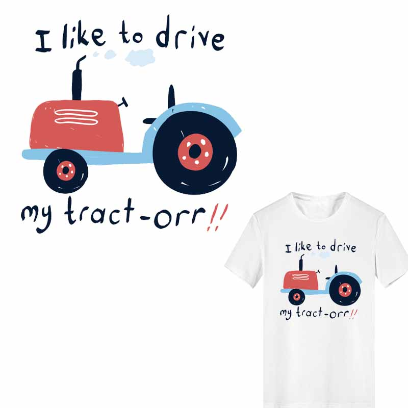 Cartoon Tractor Patch Iron on Transfer Letter Patches for Clothing Heat Vinyl Stickers Stripes Clothes Decoration