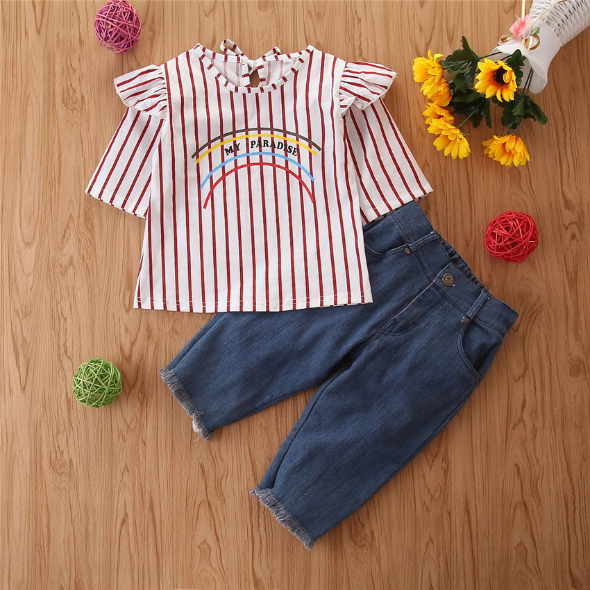 2Piece/1-6Years/Spring Baby Girls Outfits Fashion Casual Stripe T-shirt+Loose Jeans Children Clothes Kids Clothing Sets BC1388 2