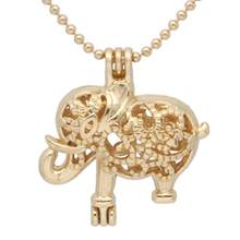 "1pc Gold tone Floral Elephant Animal Locket Necklace Pearl Bead Cage Pendant WIth 20"" Chain Essential Oil Diffuser Jewelry(China)"