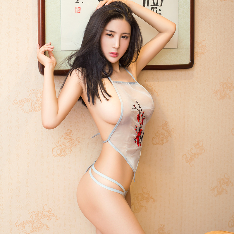 See Through Mini <font><b>Chinese</b></font> <font><b>Dress</b></font> Cheongsam Lingerie Sexy Erotic Underwear Women Velour Adult <font><b>Sex</b></font> Party Qipao Hollow Out Babydoll image
