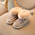 Теплые зимние ботинки с мехом для маленьких девочек  модные ботинки принцессы с блестками и кроличьим мехом для девочек  брендовая детская ...