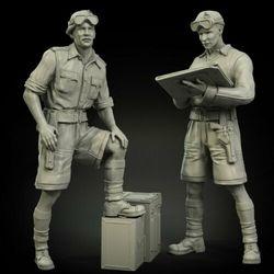 Novo unmounted 1/35 antigos oficiais britânicos conjunto norte incluem 2 resina figura kit modelo sem pintura