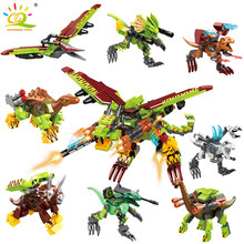 631pcs Dragon Mecha World Building Blocks Legoingly Jurassiced Dinosaur Transformed Weapon Park Fight Bricks Figures Toys Child(China)