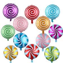 5 pçs/lote 18 polegada redonda folha de pirulito inflável balão doces folha ballon para o casamento crianças festa aniversário decoração